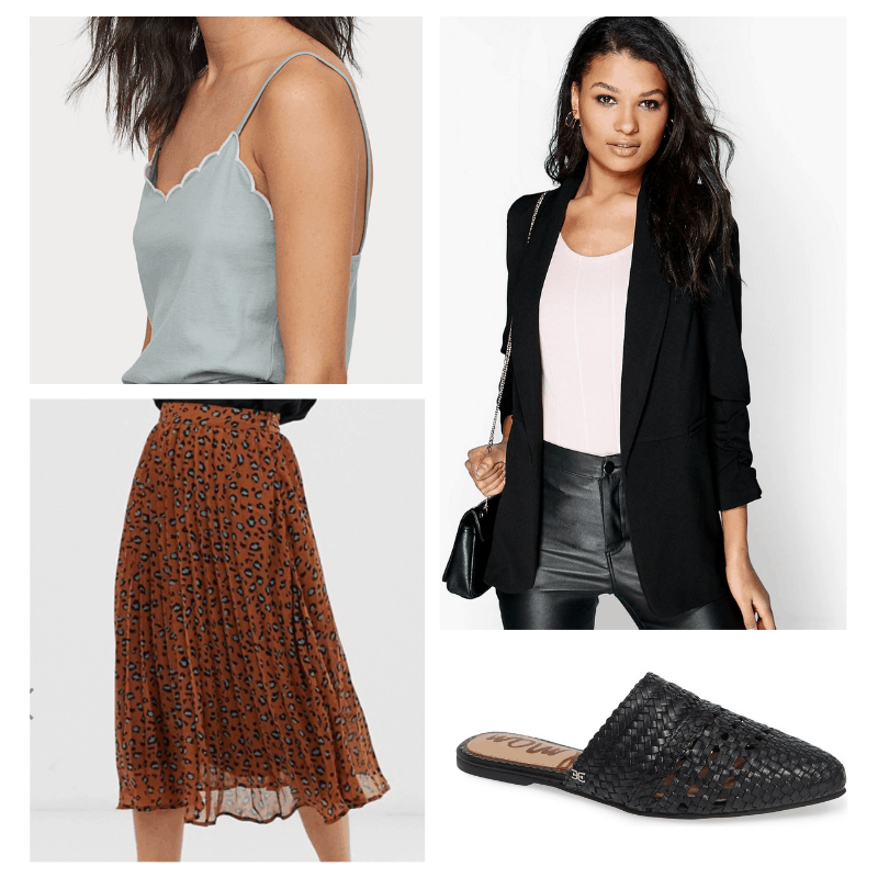 Summer work outfit with leopard print skirt, blue top, black blazer, and black mules