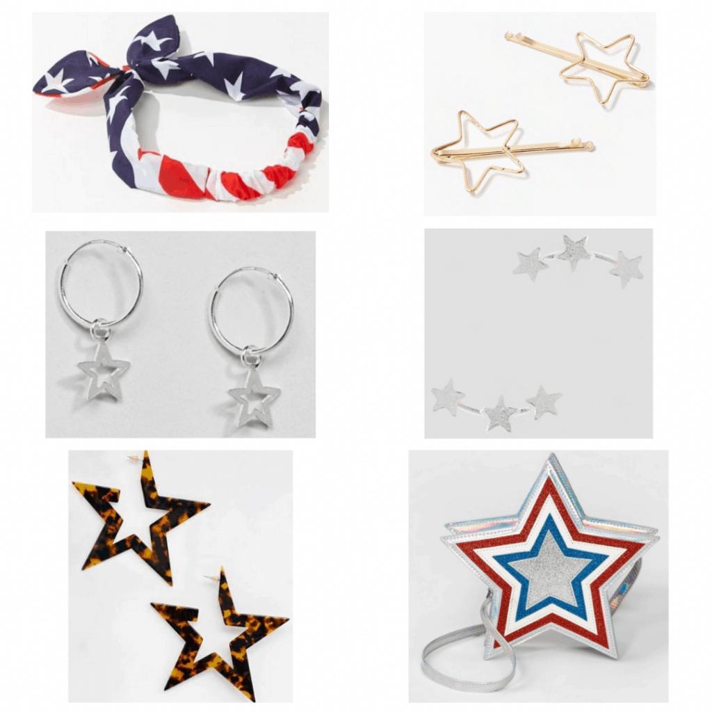 4th of July fashion: flag headband, star clips, star hoops. star crawlers, star earrings, star crossbody bag