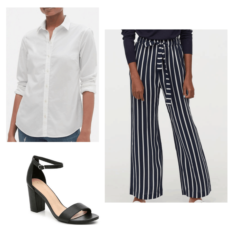 Summer work outfit with white button down, blue and white striped pants, and black heels