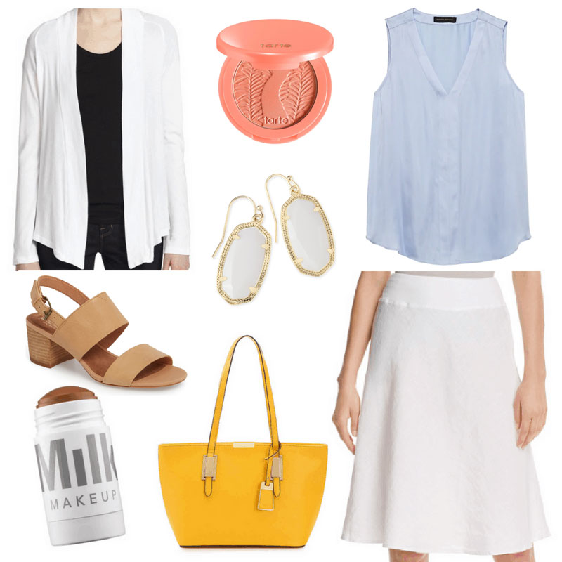What To Wear To Work When It's Too Hot To Think - Linen Skirt outfit with white skirt, blue tank, white cardigan, nude sandals, yellow bag