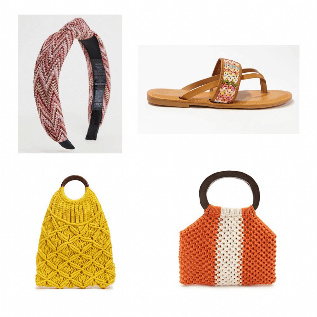 crochet accessories: crochet headband, crochet sandals, crochet toe, crochet handbag