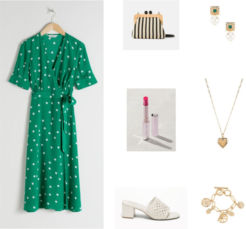 Granny chic outfit with green polka dot dress, white sandals, red lipstick, striped clutch