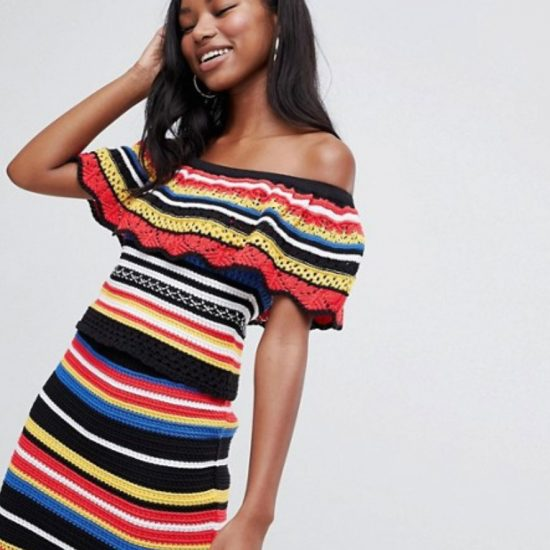 Crochet dress in multicolored stripes