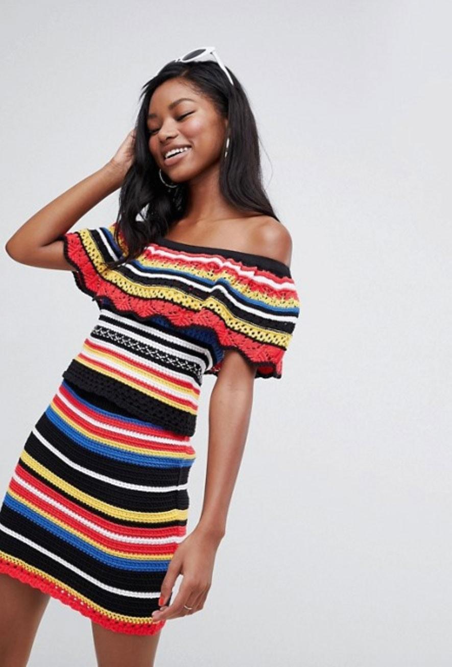 Crochet dress in multicolored stripes