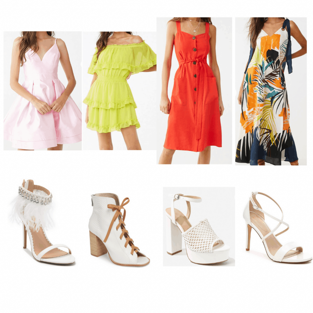White Heels looks: Feather heels and fit and flare dress, white heeled boots and off-the-shoulder dress, platform heels and midi dress, strappy heels and maxi dress