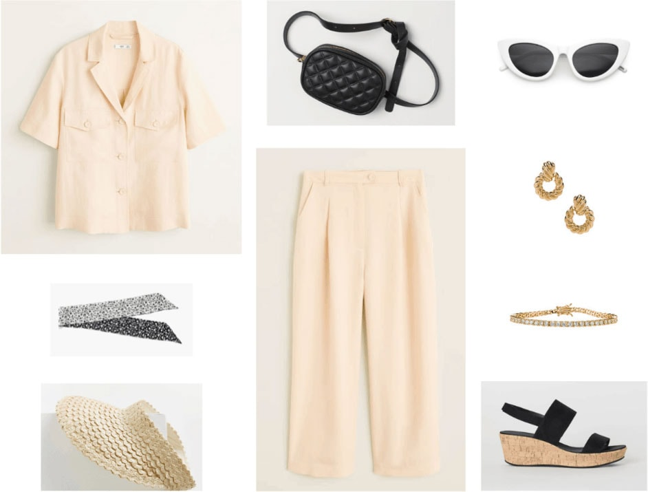 Granny chic outfit with beige suit, woven visor, cork wedges, neck scarf, big sunglasses, fanny pack