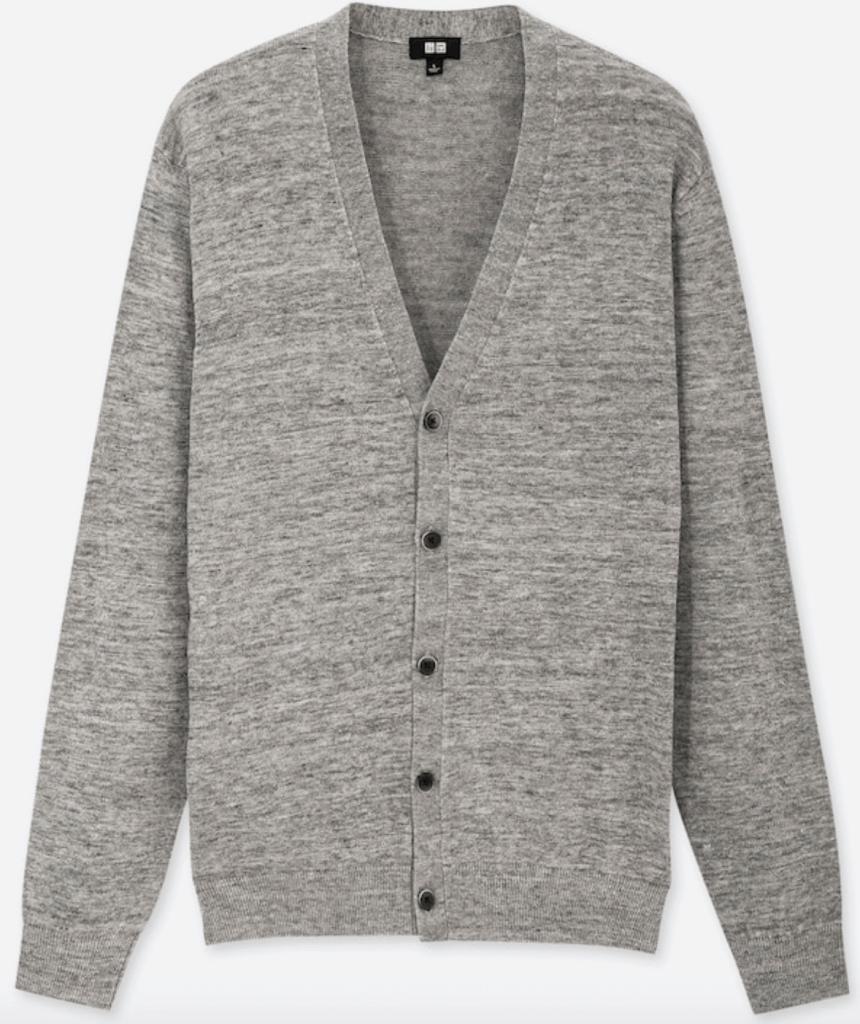 Light heather gray linen-blend deep v-neck cardigan