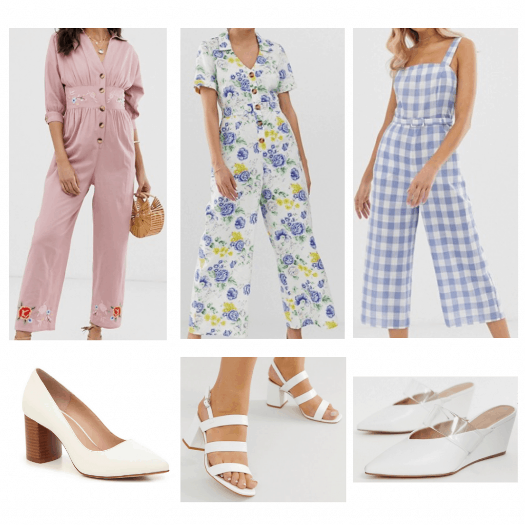 White heels outfits: Pink embroidered jumpsuit, white floral jumpsuit, gingham jumpsuit, pointed toe heels, strappy sandals, wedge mules