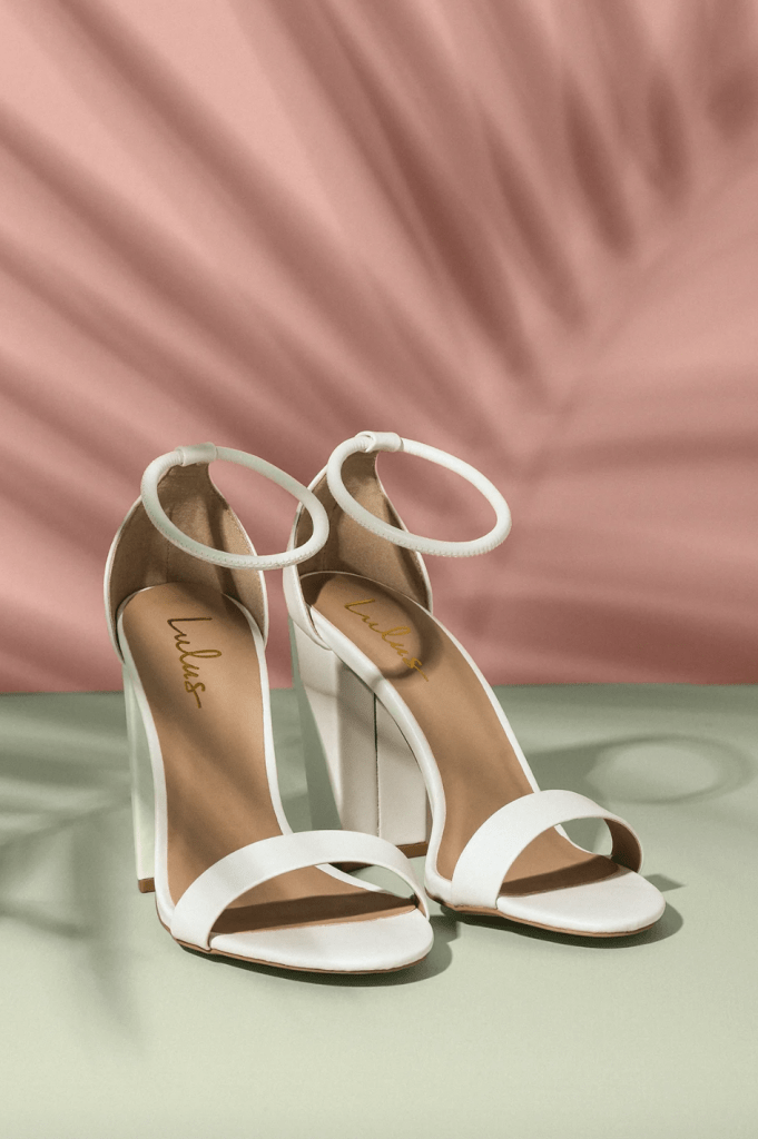 White strappy heels from Lulu's