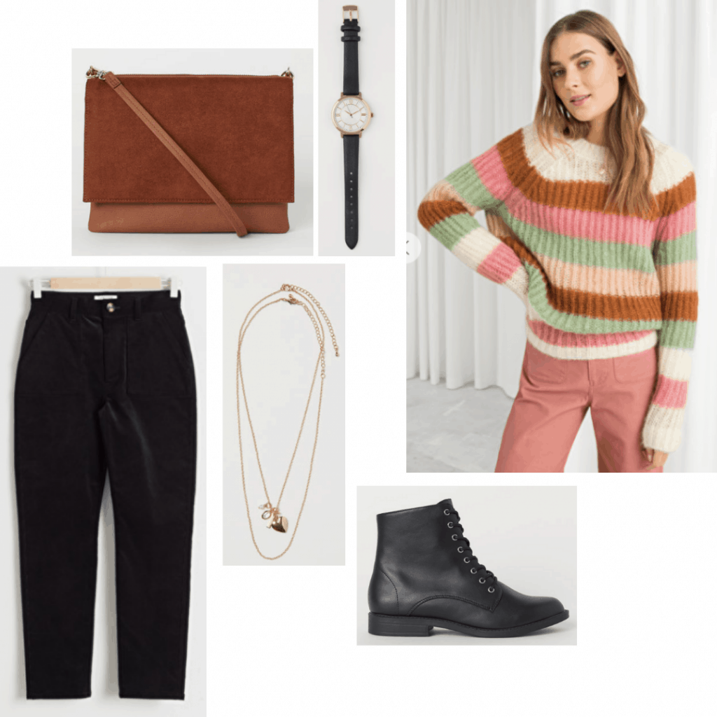 Nancy Wheeler style outfit with black pants, striped sweater, combat boots, brown crossbody bag, jewelry