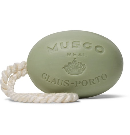 Light olive green colored Claus Porto Musgo Real Soap on a Rope
