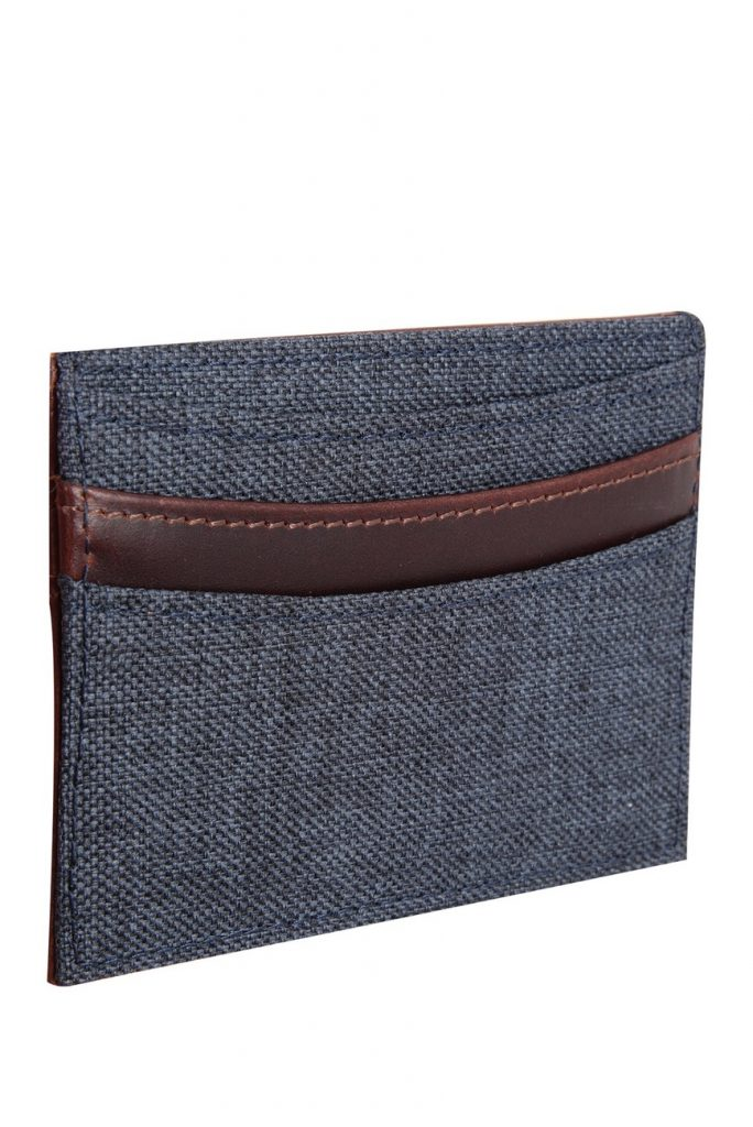 Navy blue fabric and brown leather card case