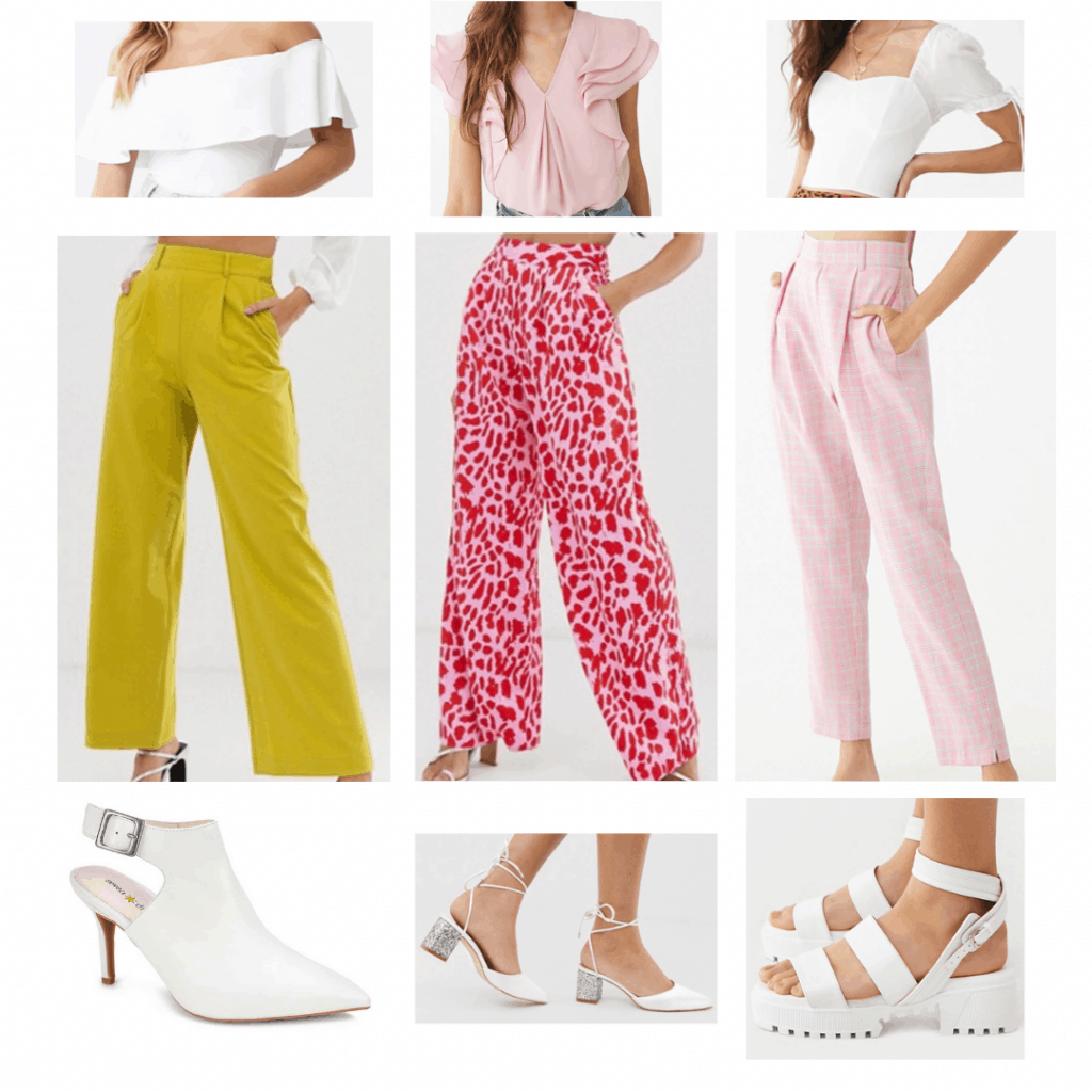 White heels outfits: Flounce top, ruffled layered top, bustier top, yellow pleated pants, pink and red animal print pants, pink plaid pants, pointed toe heels, satin and glitter heels, chunky sandals