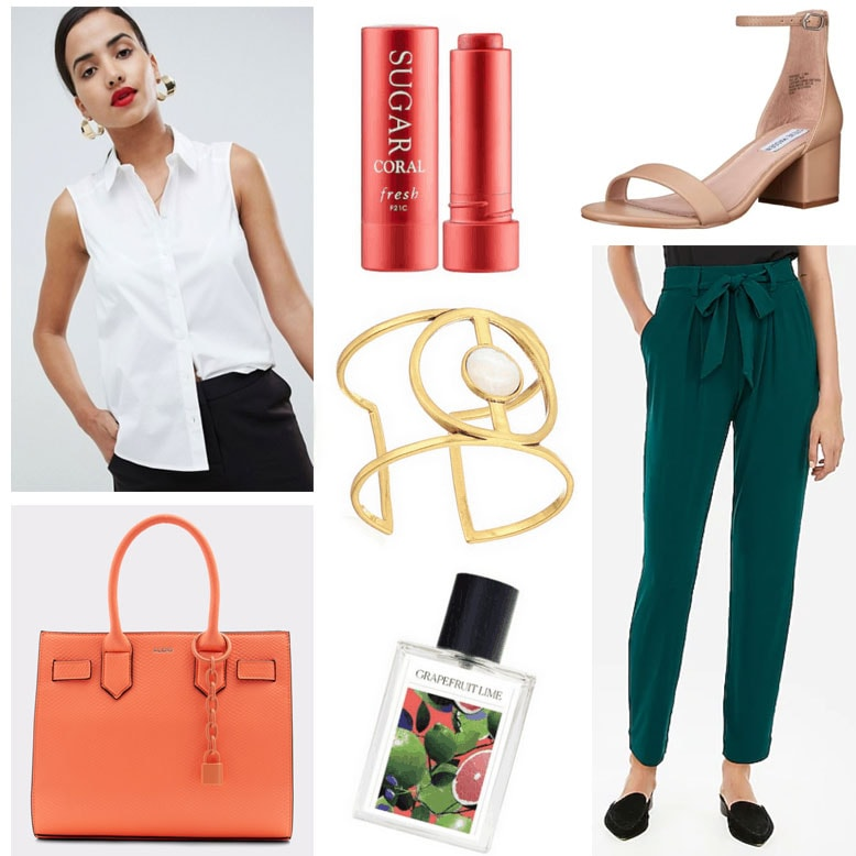 What To Wear To Work When It's Too Hot To Think - Paper Bag Pants outfit with green pants, coral bag, nude heels, white sleeveless blouse