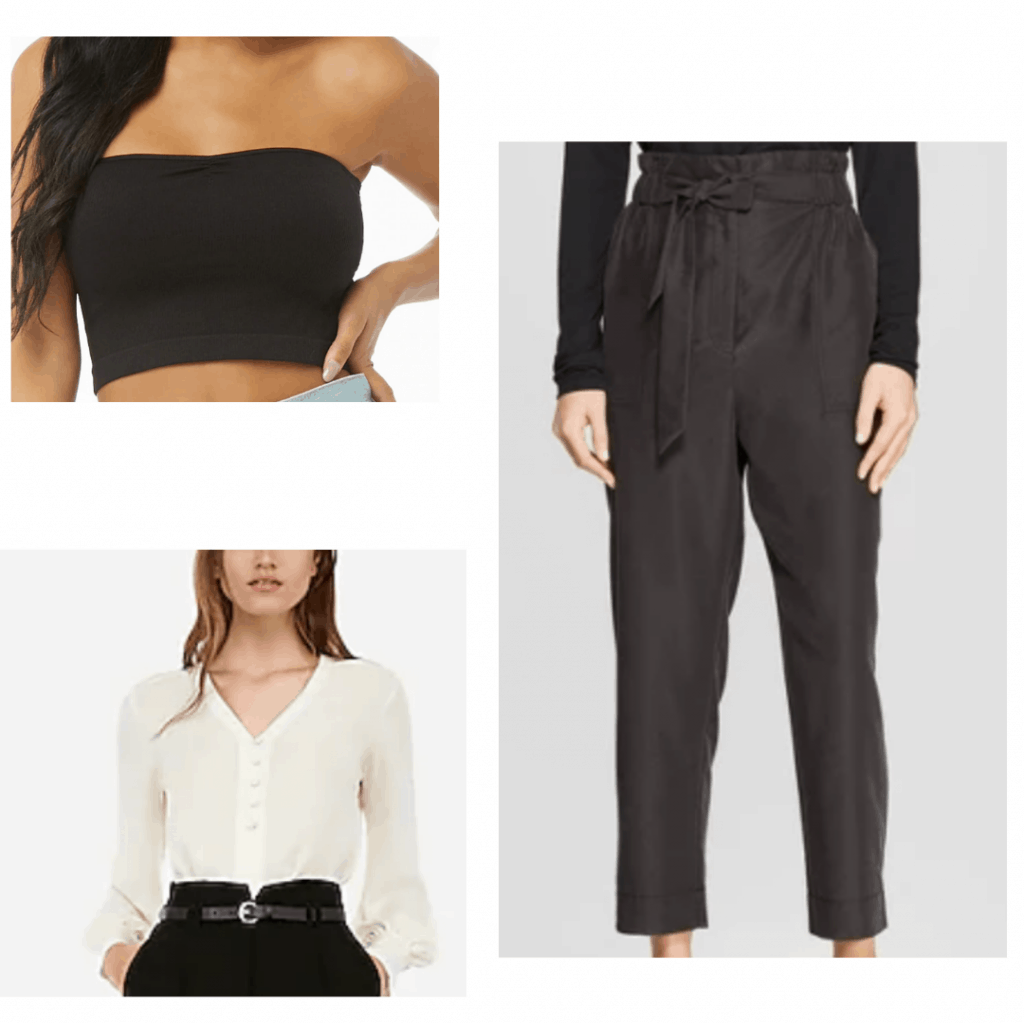 Black paper bag waist pants with black crop top and white blouse