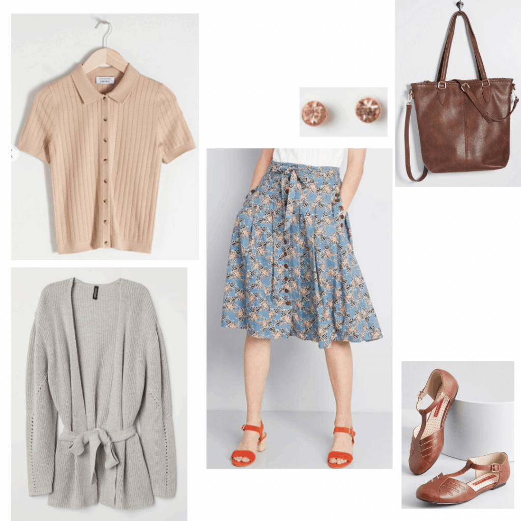Nancy Stranger Things fashion: Outfit inspired by Nancy with floral skirt, beige button down shirt, gray cardigan, flats