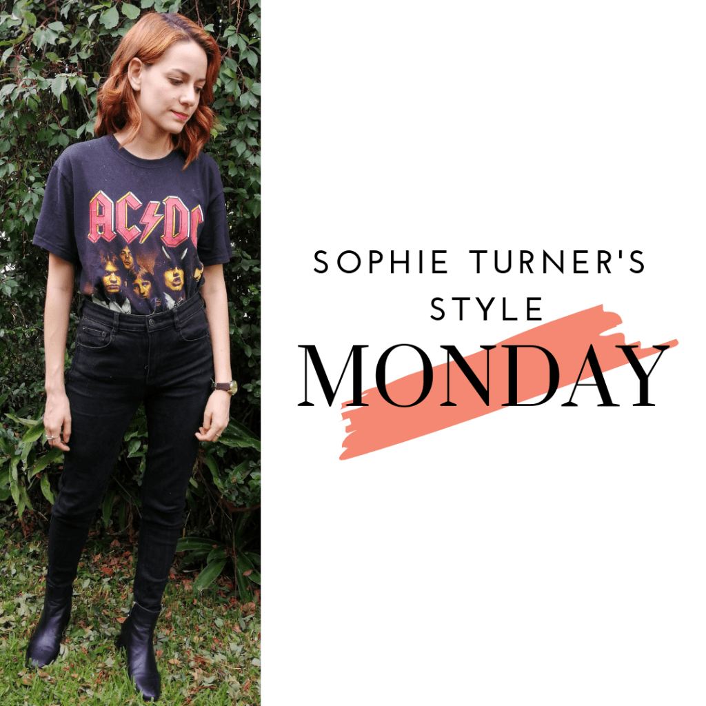 Sophie Turner's Style Monday: black jeans, t-shirt. booties