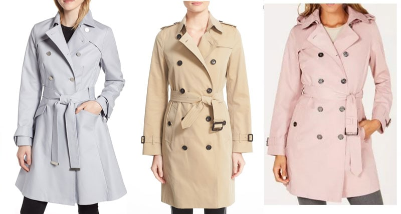 High end splurge trench coats by Burberry, Ted Baker, and Michael Kors