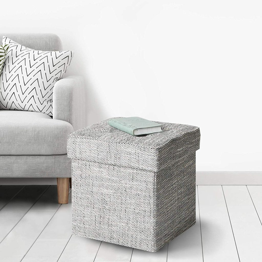 College dorm room furniture - Cute storage ottoman in gray tweed