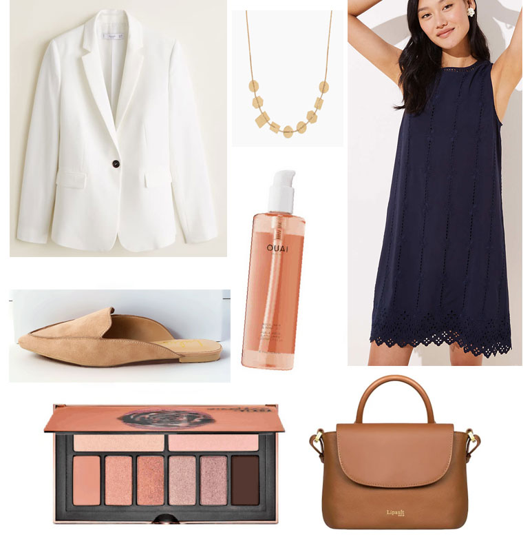 What To Wear To Work When It's Too Hot To Think - summer work outfit with loose dress, camel accessories, cream blazer