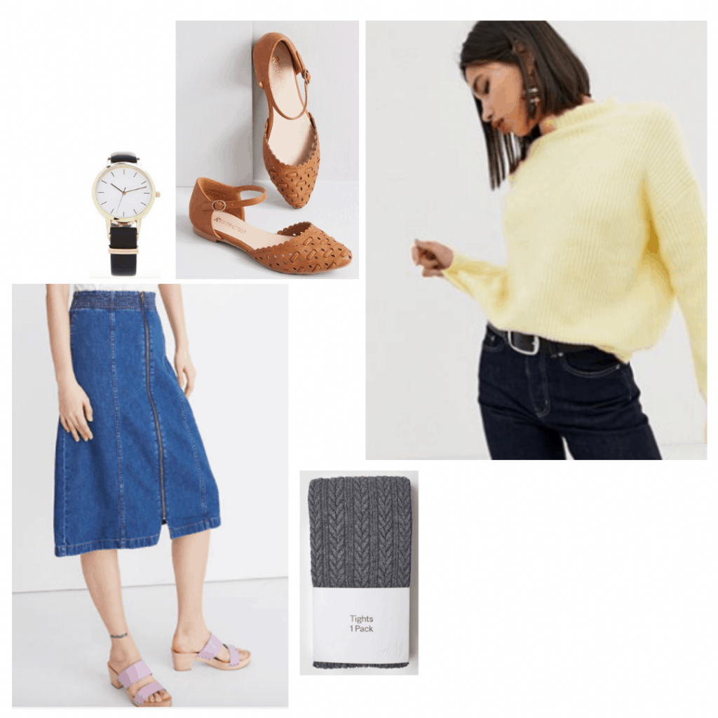 Nancy Wheeler style from Stranger Things: Outfit idea with yellow cropped sweater, denim skirt, knit tights, black watch
