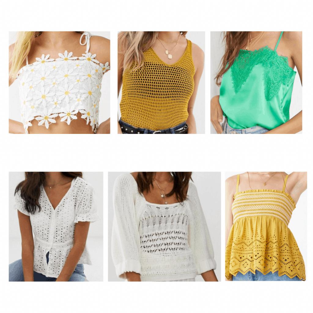 Crochet Tops: daisy crop top, crochet button up top, crochet vest, crochet puff sleeve blouse, crochet cami, crochet babydoll