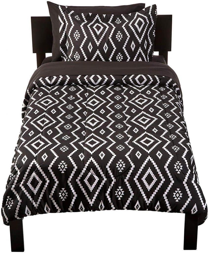 Black Aztec pattern 5 piece bedding set