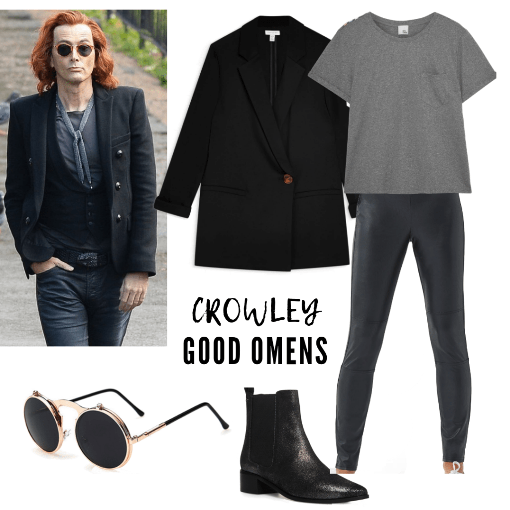 CROWLEY'S OUTFIT: LEGGINGS, T-SHIRT, BOOTIES, SUNGLASSES, BLAZER