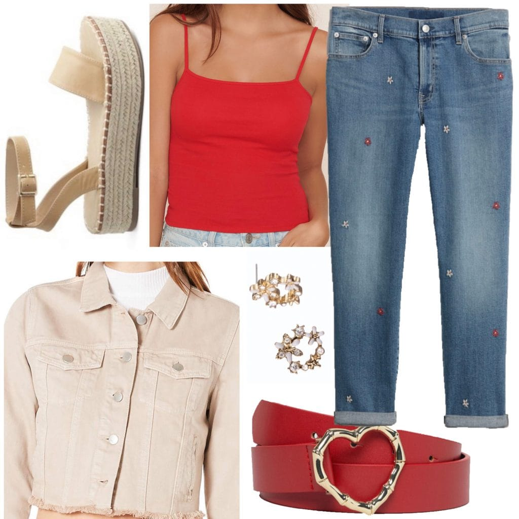 An outfit set with a red camisole for a fun, daytime look