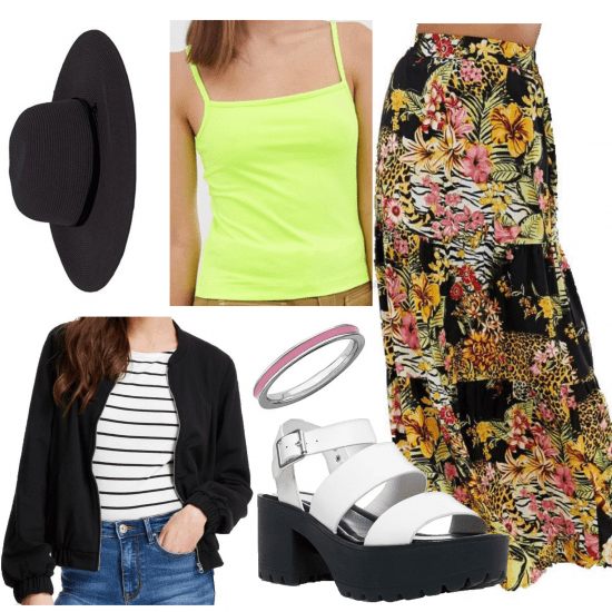 outfit set with a green cami,printed maxi skirt, a black hat, shoes, and black jacket