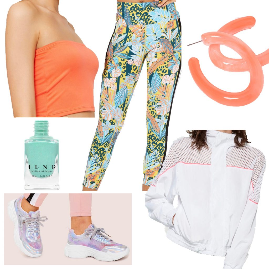Outfit set featuring tropical printed leggings, coral top, holographic sneakers