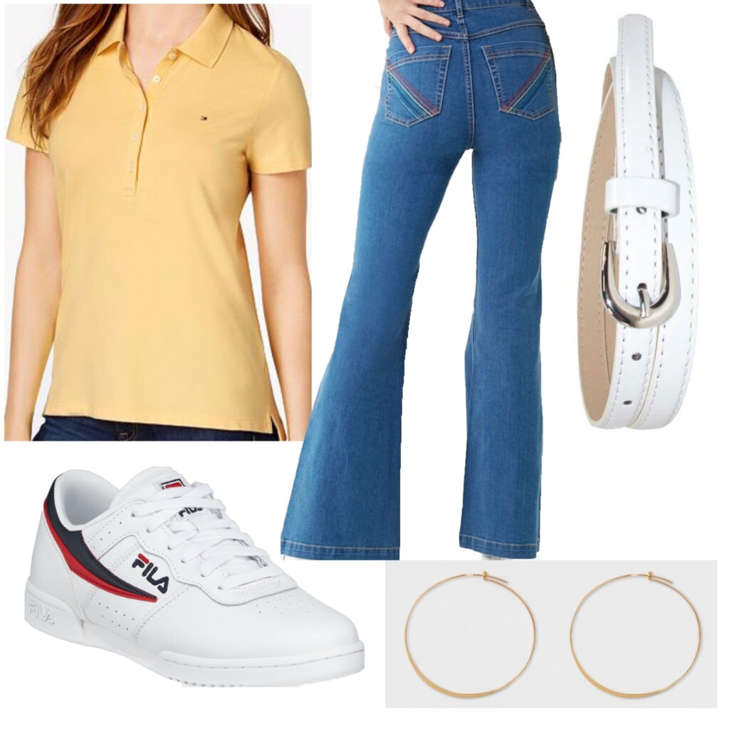70s Casual: An outfit set featuring a pastel yellow polo shirt