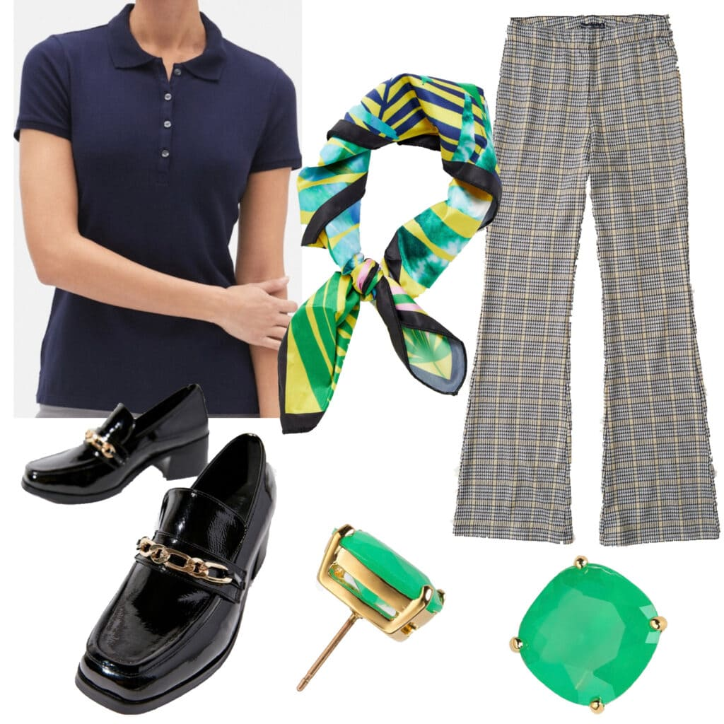 Pattern Play: An outfit set featuring a navy blue polo shirt
