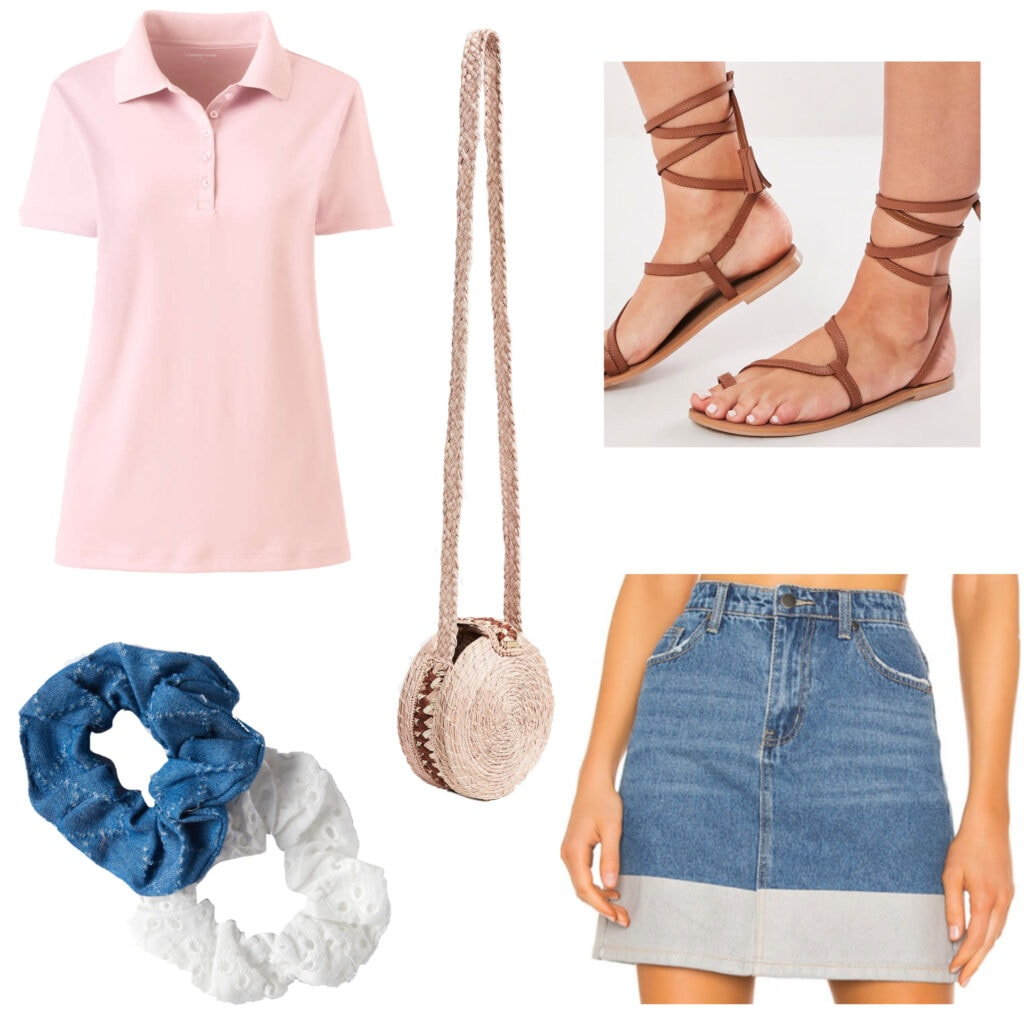 Polo shirt outfits - Breezy & Beautiful: An outfit set featuring a light pink polo shirt, denim skirt, scrunchies, sandals