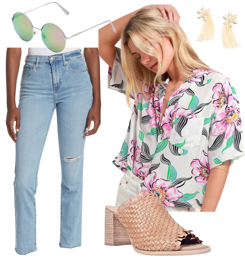 Hilary Duff Outfit: light blue straight leg jeans, Hawaiian print short sleeve shirt, round gradient sunglasses, floral drop earrings, and woven heeled mules