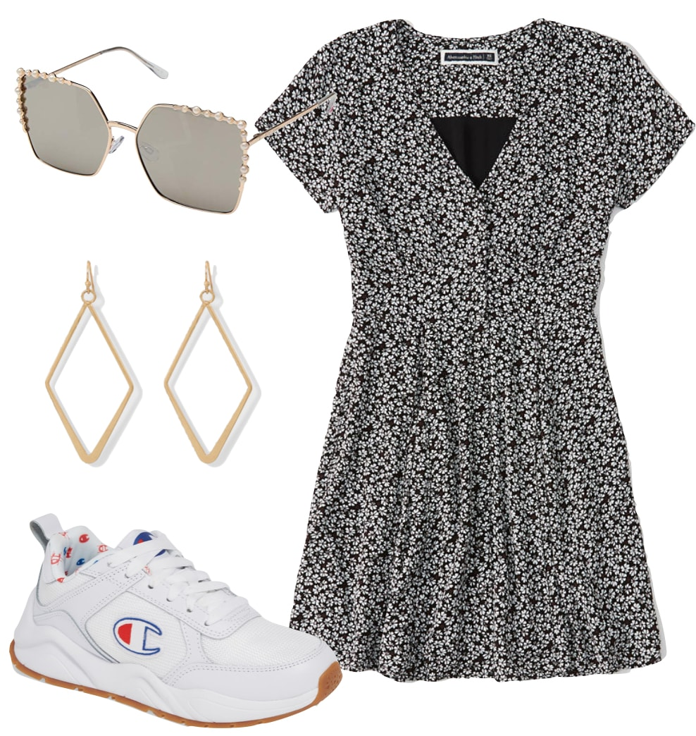 Hilary Duff Outfit: floral short sleeve mini dress, embellished sunglasses, diamond shape drop earrings, and chunky logo sneakers