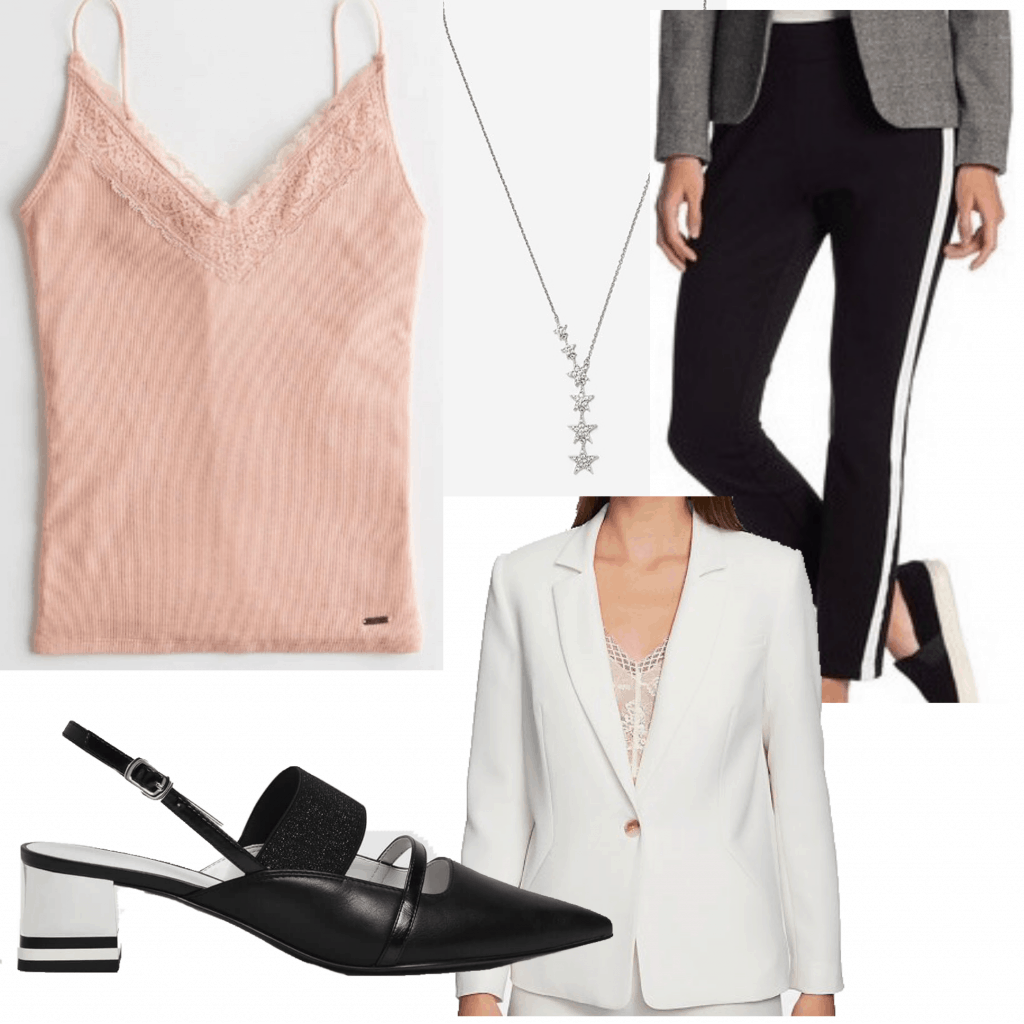 An outfit set with a light pink camisole for a business casual setting