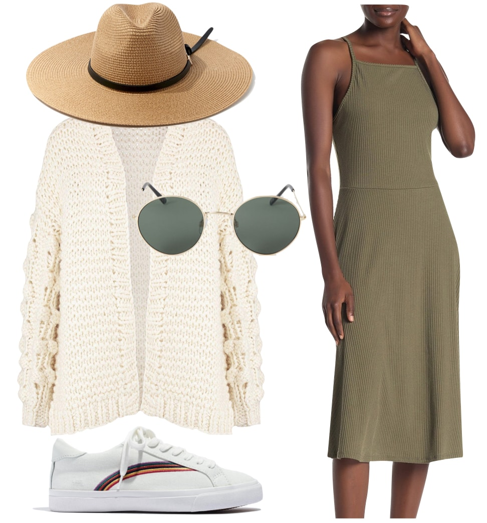 Jamie Chung Outfit: olive green square neck midi dress, chunky cable knit cardigan sweater, straw wide-brim hat, round metal sunglasses, and rainbow embroidered white sneakers