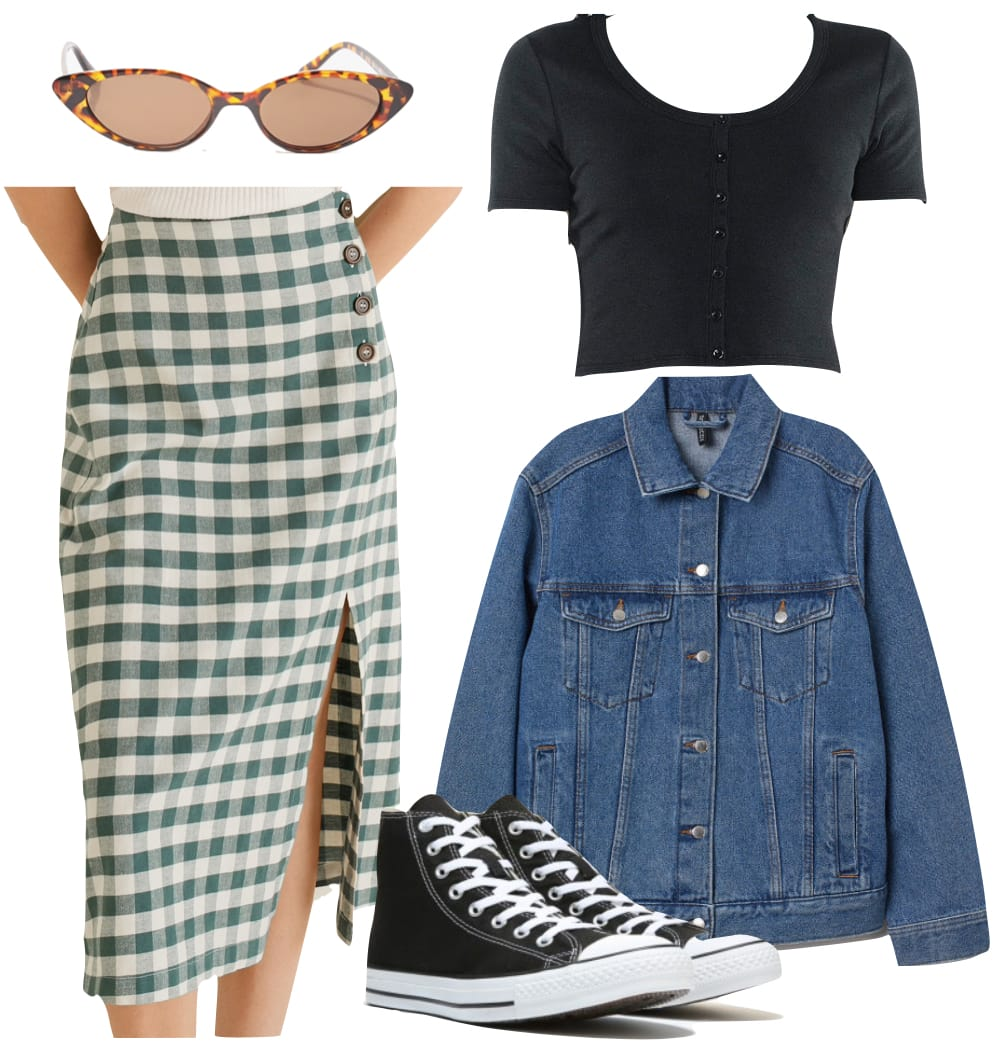 Kaia Gerber Outfit: green gingham button midi skirt with slit, black button front short sleeve crop top, tortoise cat-eye sunglasses, oversized denim jacket, and black Converse All Star Chuck Taylor high top sneakers