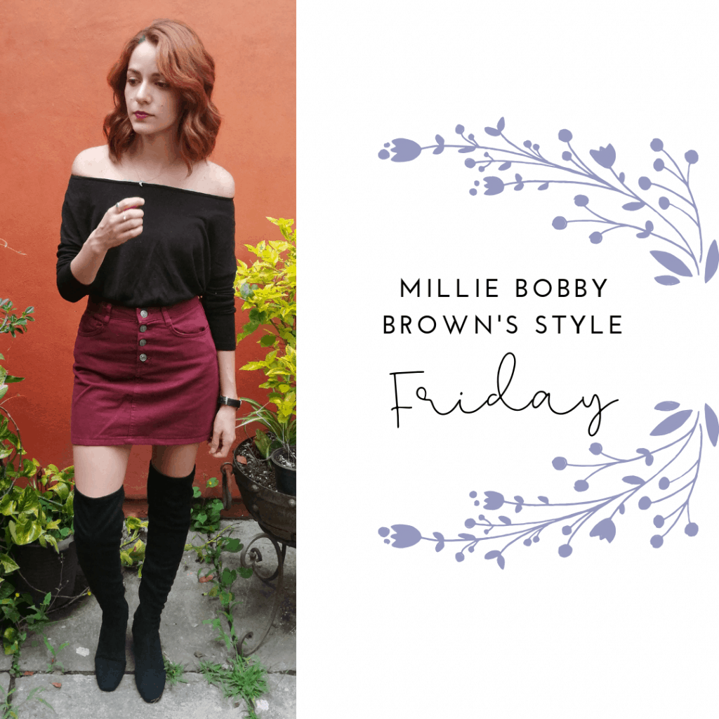 MILLIE Bobby Brown STYLE FRIDAY: SKIRT, SWEATER, BOOTS