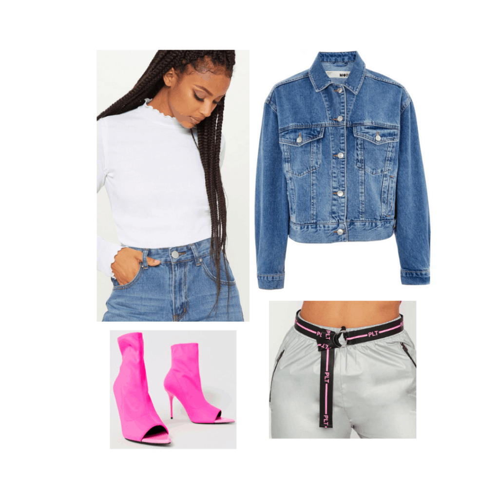Outfit inspired by Sabrina Carpenter's Singular Act II video with neon boots, waist belt, jeans, and high neck white top