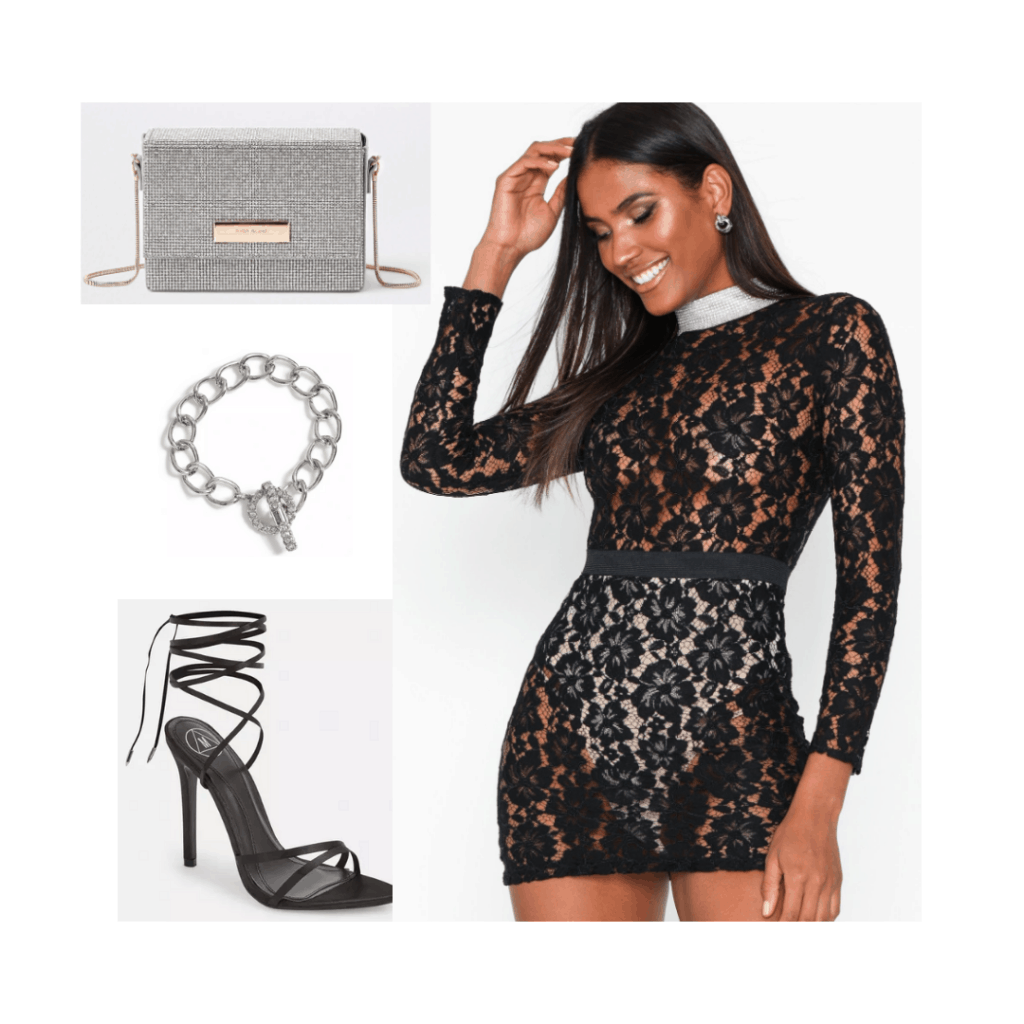 Sabrina Carpenter fashion inspired outfit with lace dress, strappy heels, chunky necklace