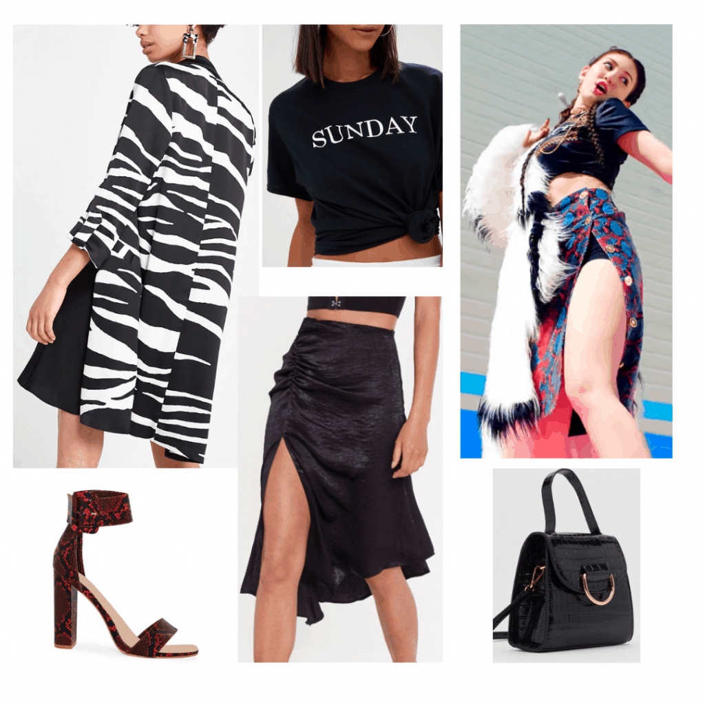 Somi style outfit with black slit skirt, Sunday graphic tee, patterned black and white jacket, red heels, black handbag