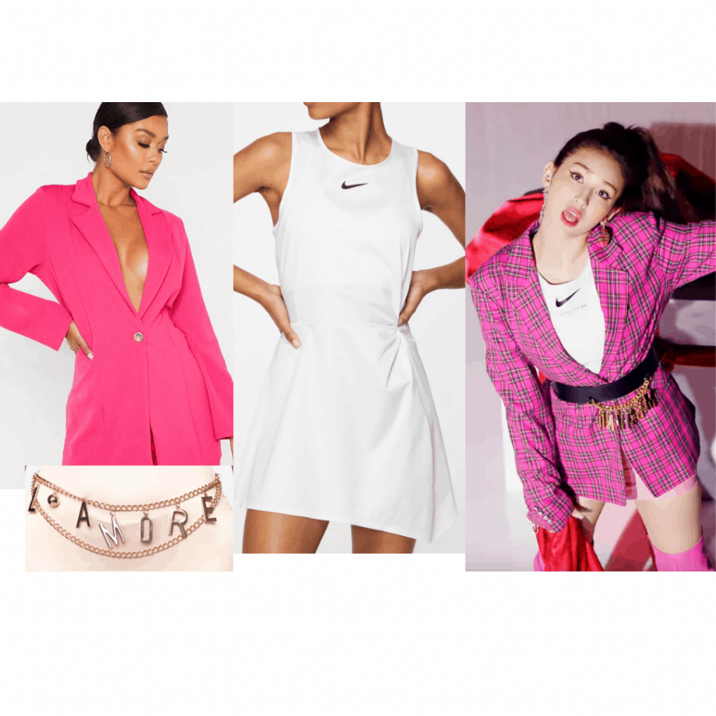Outfit inspired by Jeon Somi in the Birthday music video – pink blazer dress, choker, white Nike dress