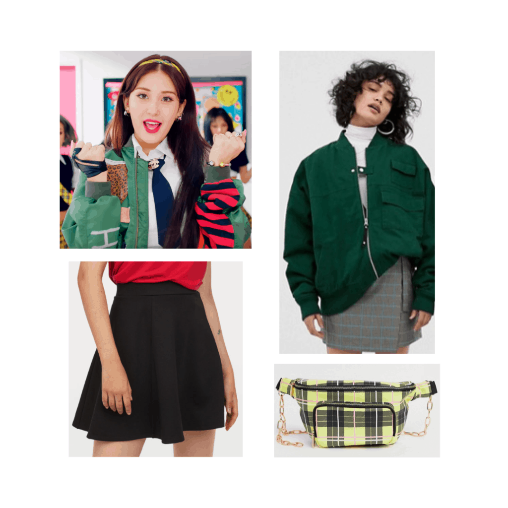 Somi style outfit with green jacket, black mini skirt, plaid fanny pack