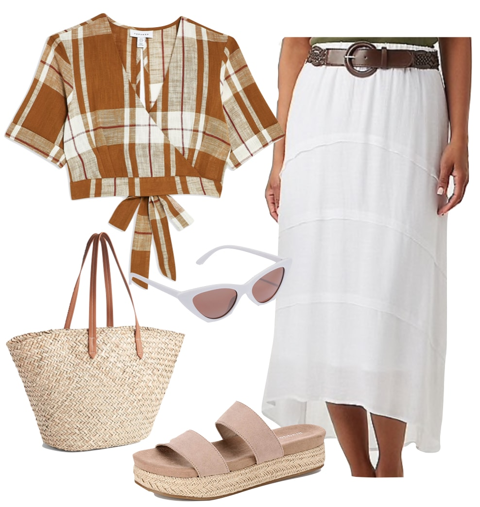Vanessa Hudgens Outfit: brown gingham crop top, white tiered peasant maxi skirt with brown belt, beige platform sandals, white cat-eye sunglasses, and straw tote bag