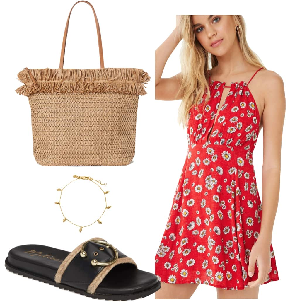 Vanessa Hudgens Outfit: red floral high neck mini dress, straw tote bag, gold anklet, and black and gold contrast slide sandals