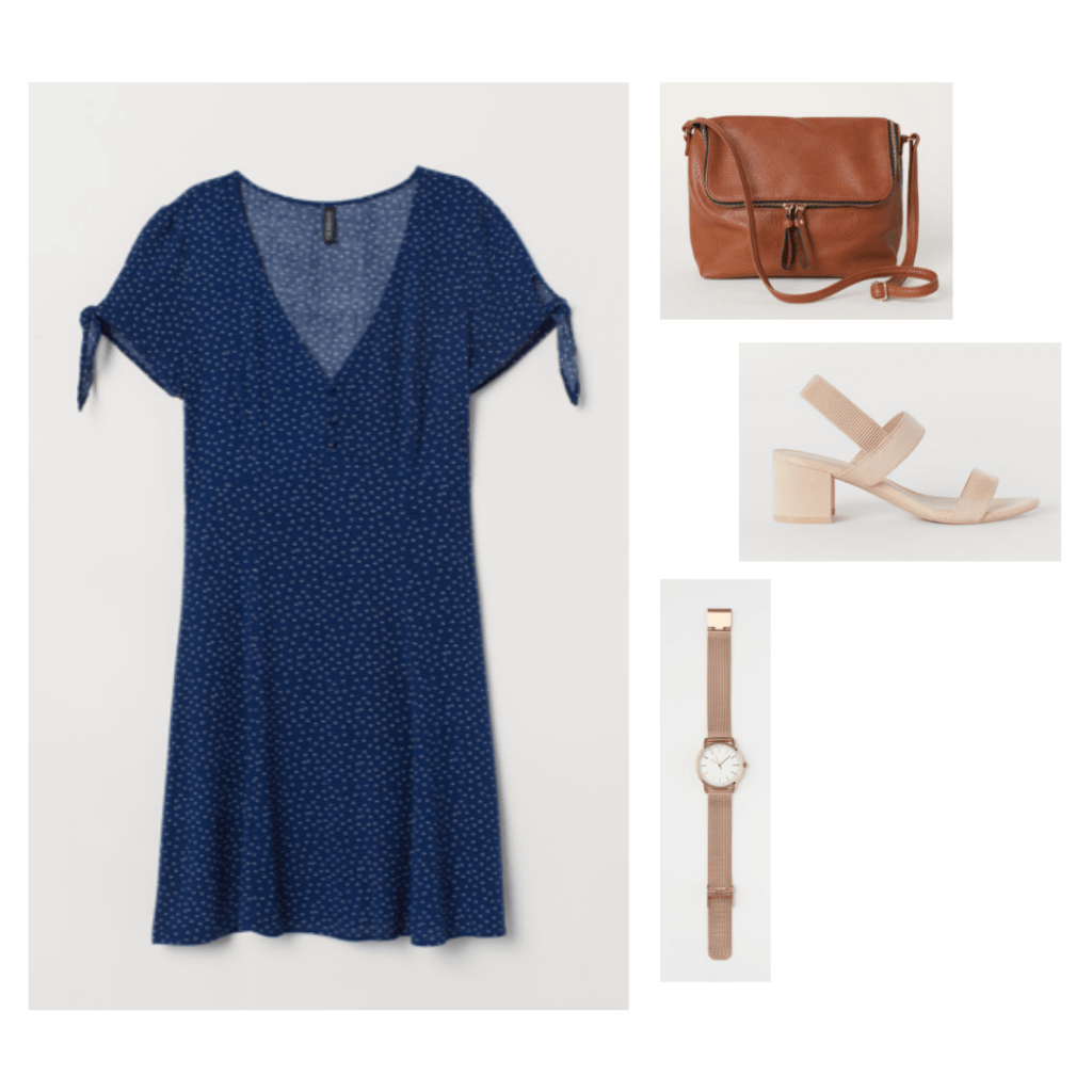 Outfit inspired by Amy Dunne's style in Gone Girl with navy blue dress, strappy shoes, shoulder bag