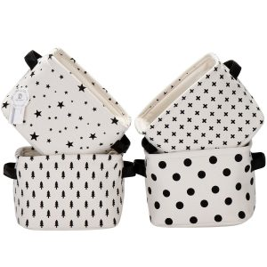 Cute little printed storage bins from amazon in black and white