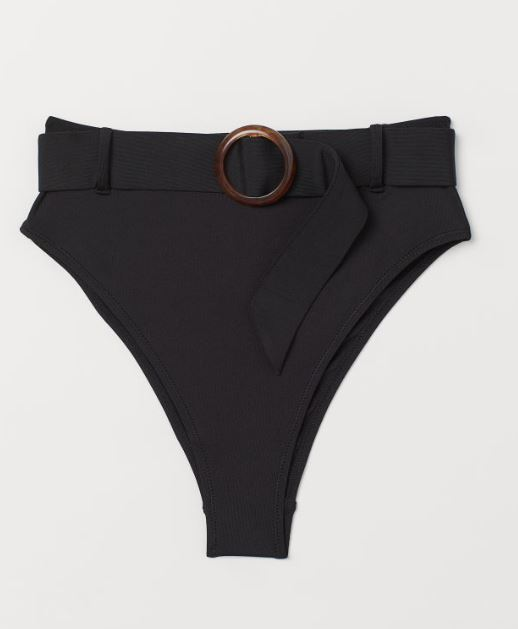 2019 bathing suit trends - black bikini bottom with belt